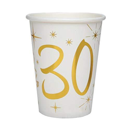 Chal - 20 Gobelets Anniversaire 30 Ans Blanc et Or