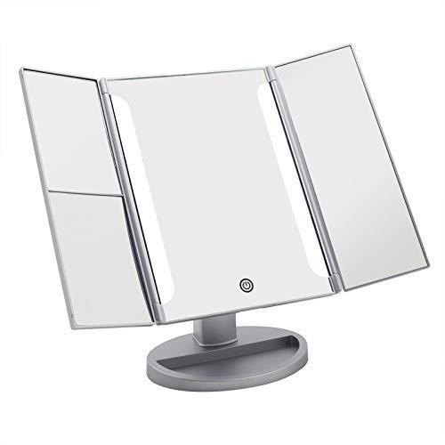 JKUNYU Espejo de maquillaje iluminado, maquillaje 24 de encendido LED de tres pliegues Espejo con pantalla táctil y 180 ° soporte ajustable viaje Modo Dual Power espejo de la belleza Espejo de pared