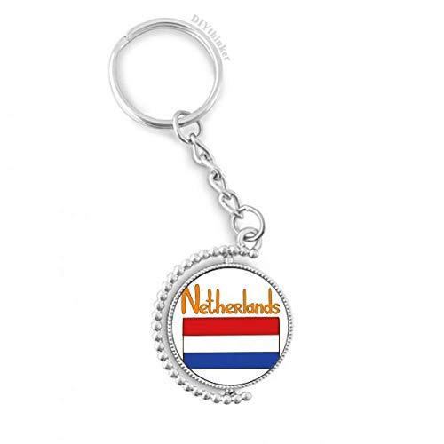 DIYthinker Mannen Nederland Nationale Vlag Patroon Draaibare Sleutelhanger Ring Sleutelhouder 1,2 inch x 3,5 inch Multi kleuren