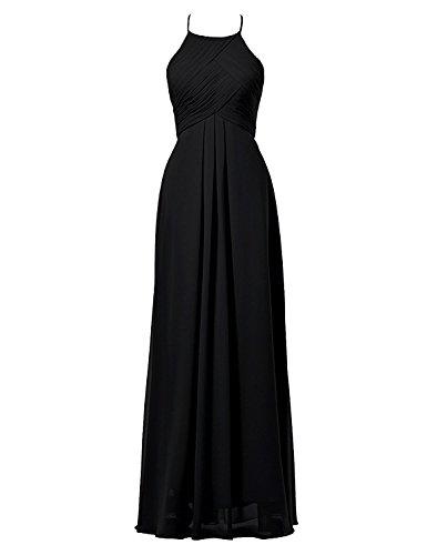 Dresses Onlie Damen Chiffon Abendkleider Lang Elegant Empire Brautjungfernkleider Festlich Ballkleider -Schwarz-52