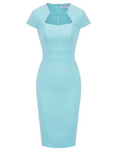 GRACE KARIN Stretch Kleider Damen sexy etuikleid 50er Jahre Kleid hellblau Sommerkleid XL CL8947-12