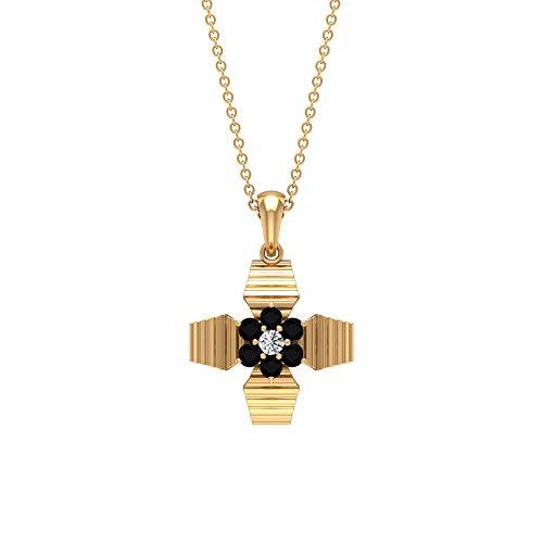 Collar de diamante blanco y negro de 1/3 quilates para mujer, colgante de flor de diamante, colgante grabado en oro antiguo, collar de gota de boda, collar de racimo de regalo, Metal, Diamond,