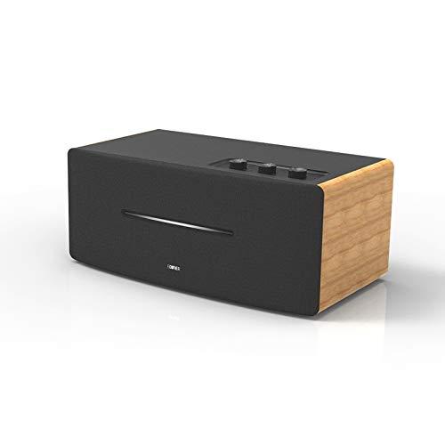 Edifier D12 Bücherregal-Lautsprecher - Integrierter Desktop-Stereo-Bluetooth-Lautsprecher - Drahtloser Computer-Lautsprecher für den Desktop-Einsatz - 70 Watt RMS mit Subwoofer-Line-Out - Holzgehäuse