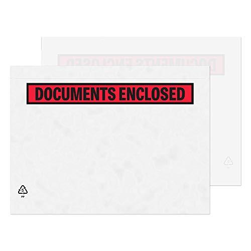 """Purely Packaging - Sobres portadocumentos adhesivos (1000 unidades, plástico, A5, 235 x 175 mm), diseño con texto""""Documents Enclosed"""""""