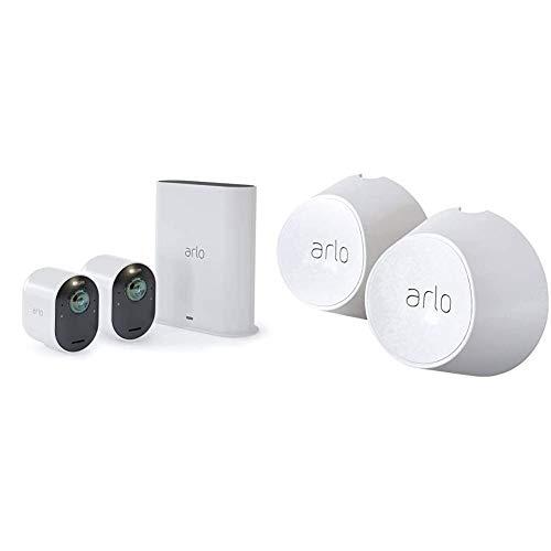 Arlo Ultra Überwachungskamera & Alarmanlage, 4K UHD, 2er Set, Smart Home, kabellos & Magnetische Wandhalterungen (2er Set, nur mit kabelloser Arlo Ultra und Pro3 Überwachungskamera kompatibel), weiß