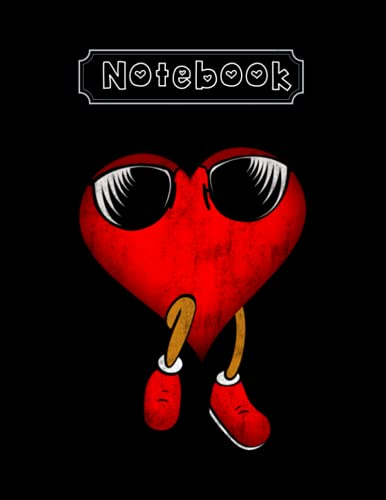 Notebook: Heart Sunglasses Funny Retro Vintage Valentines Day Valentine Notebook 8'' x 11'' Makes A Cute Gift For Lover
