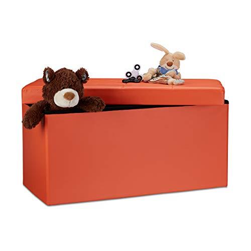 Relaxdays 10019044_708 Tabouret, Cuir, Orange, 76 x 38 x 38 cm