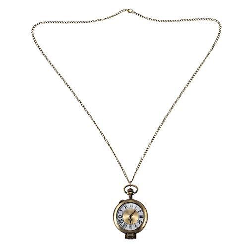 Pocket Horloge Vergrootglas Pocket Horloge Transparant Glas Roman Numerals Bronzen Oppervlak Grote Hanger Ketting Gift Pocket Horloge