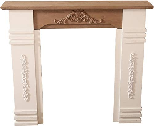 Casa Padrino Landhausstil Kaminumrandung Antik Weiß/Braun 110 x 22 x H. 98 cm - Shabby Chic Möbel