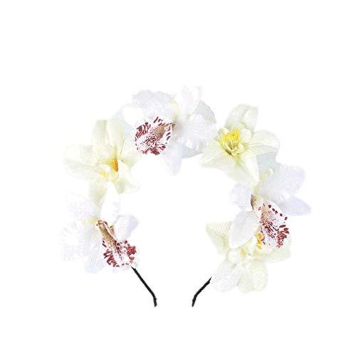 YAZILIND orquídea flor corona diadema boda trajes de novia cabeza trajes de...