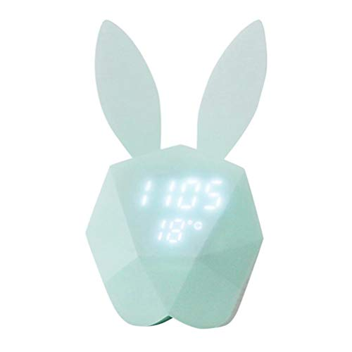 Hihey Led-lamp, wekker, Rabbit Night Light, spraakgeactiveerde LED digitale klok, intelligente spraakbesturing, USB-oplaadalarm voor kinderen