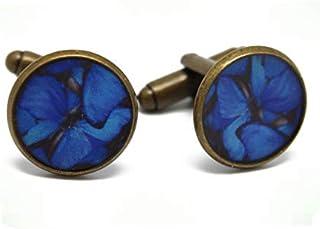 2 Gemelli da polso costume resina farfalla blu grigio ottone nero 14mm regali personalizzati Natale anniversario cerimonia...