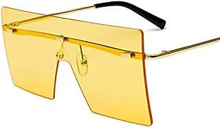 DAMO Fashion Conjoined Sunglasses Female Color Sunglasses Men Frameless Trend Glasses Gradient Sunglasses 18076(Golden Fra...