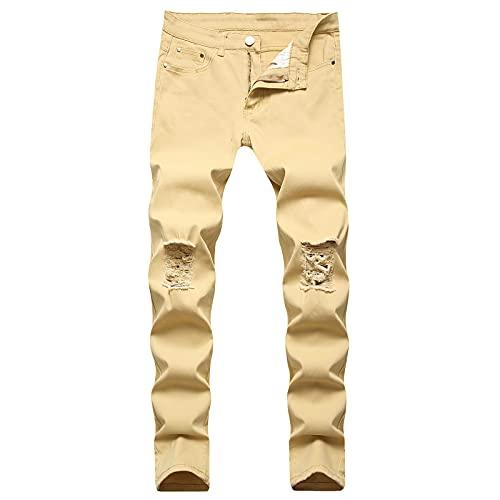 2021 Pantalones vaqueros para Hombre,Pantalones Casual Moda Jeans trend rotos Pantalones largo Talla grande...