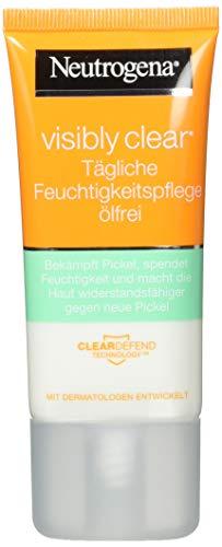 Neutrogena Visibly Clear Tägliche Feuchtigkeitspflege Ölfrei - Klärende Feuchtigkeitscreme mit Salicylsäure für das Gesicht für Tag und Nacht - 2 x 50ml