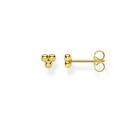 Thomas Sabo Pendientes individuales para mujer con bolas doradas, plata de ley 925