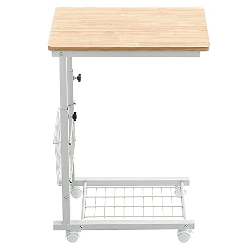 Moving Side End Computer Table Laptop Coffee Table Storage Shelf Stand Bedroom Home