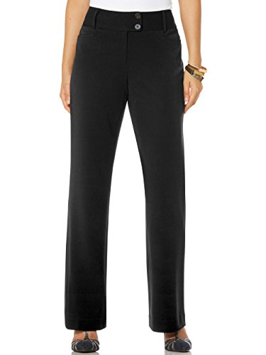 Rafaella Women's Curvy Fit Gabardine Boot Leg Trouser, Black, 12