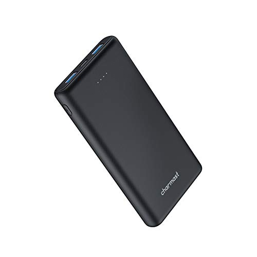 Charmast Powerbank 10000mAh USB C Ultradünner Externer Akku 3 Ausgängen Tragbares Ladegerät Handy Slim Power Bank Micro USB Type C kompatibel mit iPhone,Huawei,Samsung,Nintendo Switch usw