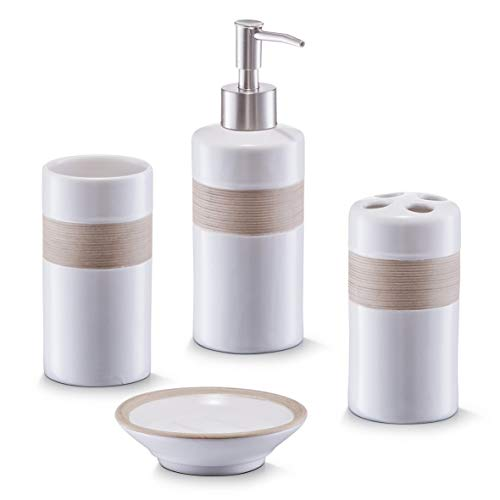 Zeller 18260 Bad-Access.-Set, 4-tlg., beige/braun, Keramik,