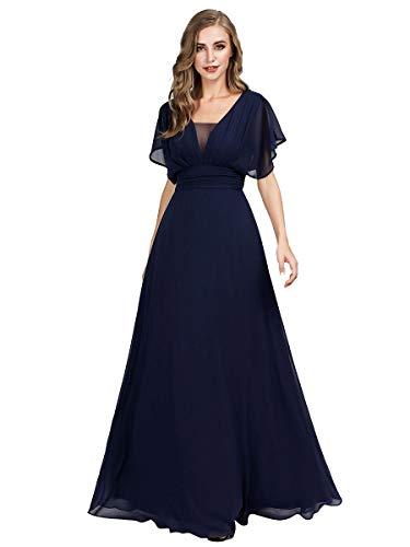 Ever-Pretty Robe de Bal Soirée Col en V sans Manche Taille Empire A-Line Mousseline de Soie Femme Bleu Marine 44