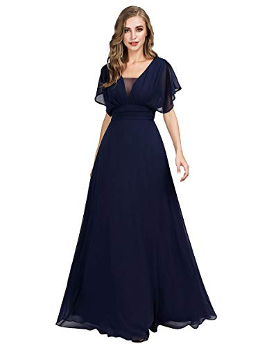 Ever-Pretty Damen Abendkleid A-Linie V Ausschnitt Ballkleid Kurze Ärmel lang Navy Blau 50