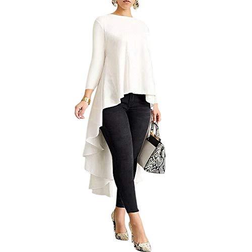Huaheng Vrouwen Lange Mouw Shirt Asymmetrische Waterval Tops Terug Lange Staart Blouse 4XL Kleur: wit