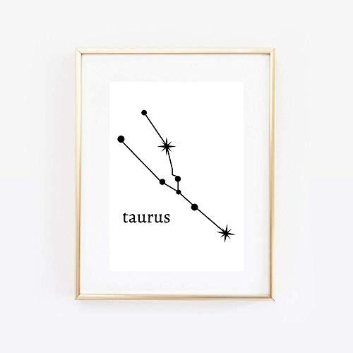 Din A4 Kunstdruck ungerahmt Sternzeichen Stier Horoskop Taurus Astrologie Sterne Sternhimmel Sternbild Minimalismus Druck Poster Bild