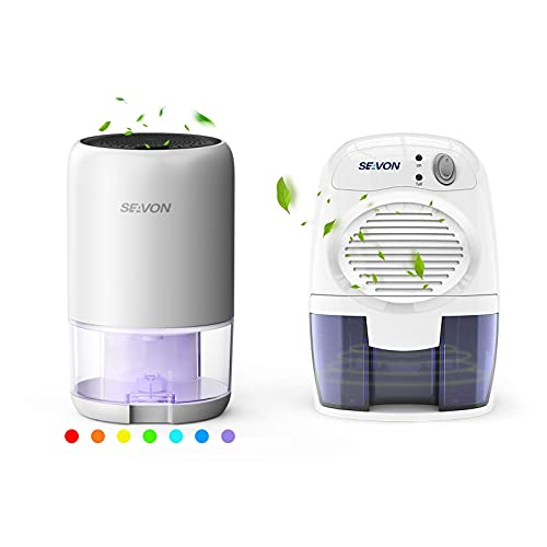 SEAVON Dehumidifier for Home 2500 Cubic Feet (280 sq ft) with 7 Color LED Light, Portable Dehumidifier with Two Working Mode for Basements, Bedroom, Bathroom, RV