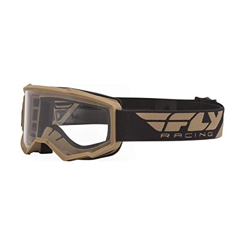 FLY Racing Focus Goggles for Motorcycle or Dirt Bike (KHAKI W/CLEAR LENS)
