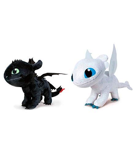 PlayByPlay Coppia Set 2 Peluche Furia BUIA Sdentato e Furia Chiara 30cm da Dragon Trainer 3 Film 2019 Originali Dragons