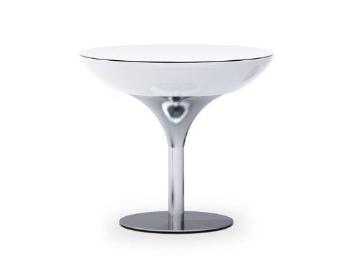 Moree Lounge Tisch, Pro, LED beleuchtet, Ø 84 cm, H 75 cm, ABS glänzend, inkl. Glasplatte, weiß transluzent, Aluminium gebürstet, eloxiert, mit E27 (230 V) Vielfarben LED, mit Fernbedienung, für Innen, Edition HOWE-Deko