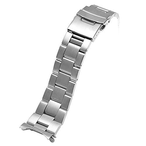 ZXF Correa Reloj, 20mm 22mm de Acero Inoxidable Correa de Reloj de Acero Inoxidable Metal Curved End Hombres Buceo Dulce Hebilla Muñeca Pulsera Accesorios (Band Color : SilverB, Band Width : 22mm)
