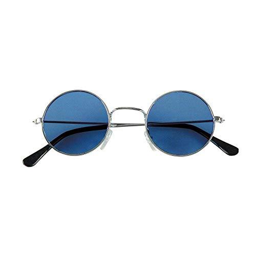 Boland 02592 - Partybrille John Blau, 1 Stück, Größe 12 x 4,5 cm, Metallgestell in Silber, runde Brillengläser, Bügel aus schwarzem Kunststoff, John Lennon, Hippie, Musik, Legende, Flower Power