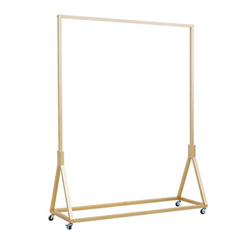 FURVOKIA Modern Simple Heavy Duty Metal Rolling Garment Rack with WheelRetail Display Clothing RackWrought Iron Single Rod Floor-Standing Hangers Clothes Shelves Gold Square Tube 472 L