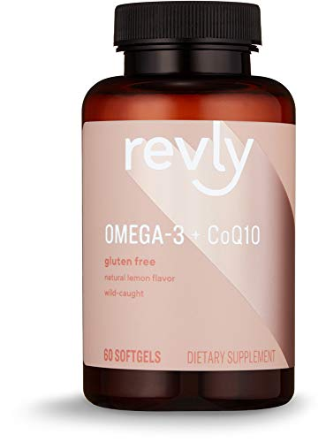 Amazon Brand - Revly Omega 3 Wild-caught Fish Oil + CoQ10 with Natural Lemon Flavor - EPA & DHA Omega-3 fatty acids -  - 60 Softgels (1250 mg Omega 3s and 100 mg CoQ10 per serving)
