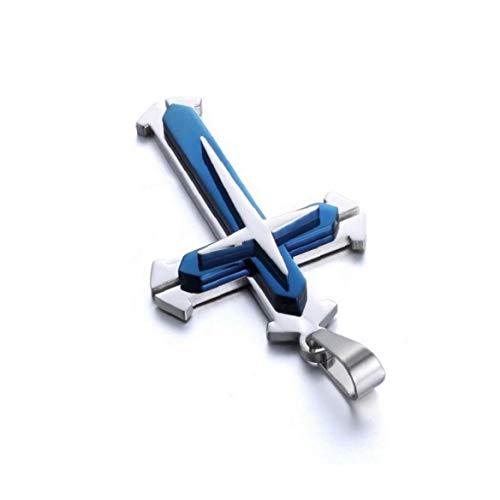 ZYCX123 Collar de Cadena Unisex de Acero Inoxidable del Colgante Cruz Collar de la Manera Mujeres y Hombres - Regalos Azules para los Amigos