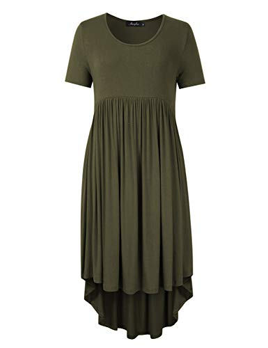 AMZ PLUS Womens Plus Size Midi Dresses Short Sleeve Loose High Low Casual Dresses with Pockets Army 4XL