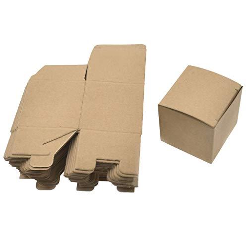 Iusun 50PCS Kraft Paper Box Folding Candy Box Christmas Wedding Candy Box Cupcake Boxes 5x5x5CM (Brown)