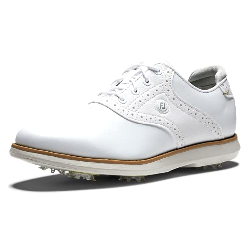 FootJoy Women's Traditions Golf Shoe, White/White, 7