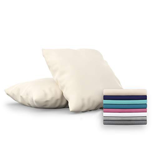 Dreamzie - Set de 2 x Funda de Almohada 60x60 cm, Beige, Microfibra (100% Poliéster) - Fundas de Almohadas Hipoalergénica - Fundas de Cojines de Calidad con una Suavidad Incomparable