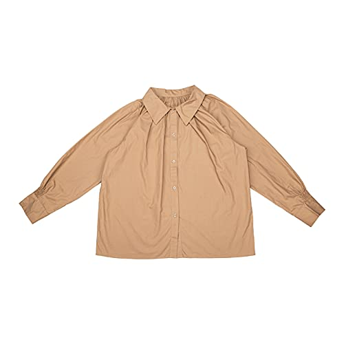 Women's Long Sleeve Polo Shirt Lapel Buttons Casual Loose Office T-Shirt Brown