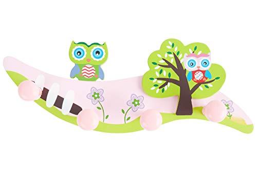 Bieco Garderobe Kinder Eule | Kindergarderobe Holz mit Kinder Kleiderhaken | Garderoben-Leiste | Wandgarderobe | Kleiderhaken Kinder Garderoben | Garderobenleiste Kinder 28 cm 4 Haken