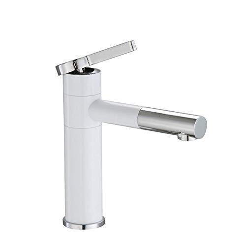 Grifo Blanco 360 Rotación pintura a pistola Cuenca Grifos Baños Grúas sola manija caliente fría mezclador de agua del grifo del lavabo de baño lavabos (Color : White Short)