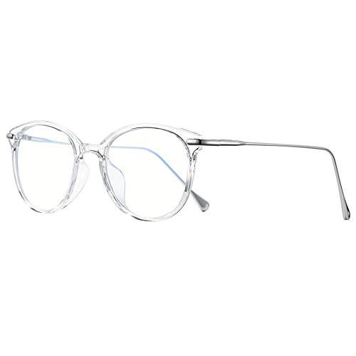 COASION Blue Light Blocking Glasses for Women Vintage Round Anti Blue Ray Computer Game Eyeglasses (Transparent/Silver)