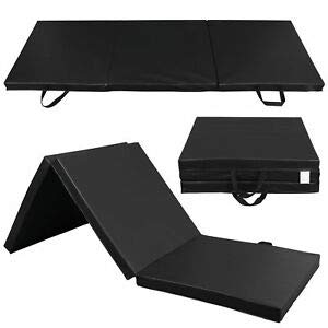ZENY Tri-Fold 6'x2'x2'' Folding Exercise Gymnastics Gym Aerobics Mats with Carrying Handles for Workout Equipment,Core Workouts,Stretching,Tumbling,Yoga,Exercise Floor Mat (Black)