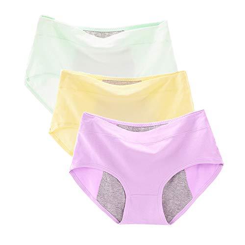 NEIYIpl 3 Packungen mit physiologischen Hosen Menstruationsperiode Anti-Side-Leakage Damenunterwäsche in der Taille Dreieck-Hygienehose, E-Kombination -XXL
