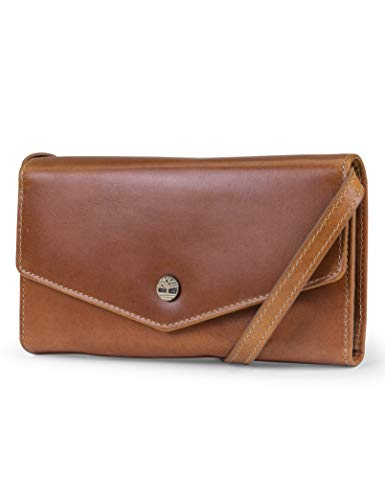 Timberland RFID Leather Wallet Phone Bag with Detachable Crossbody Strap, Cognac (Buff Apache)
