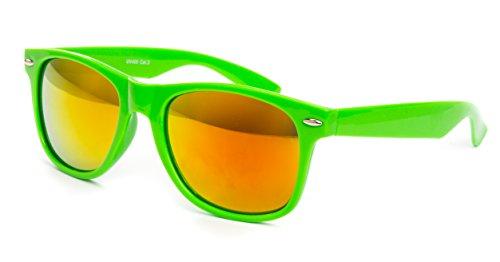 Ciffre Nerdbrille Sonnenbrille Pilotenbrille Nerd Atzen Brille Brillen Neon Grün Bunt Verspiegelt