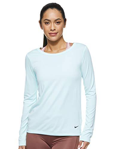 NIKE W NK Dry Top LS ELASTIKA Camiseta de Manga Larga, Mujer, Teal Tint/Black, S